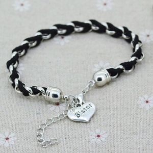 Black Leather Rope Sister Heart Charm Bracelet